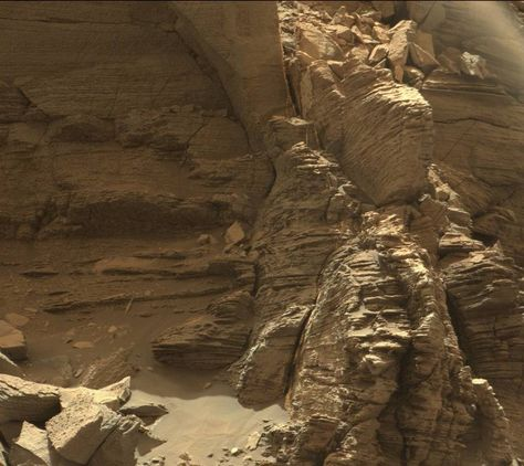 Curiosity got close to this outcrop on Sept. 9, 2016, which displays finely…