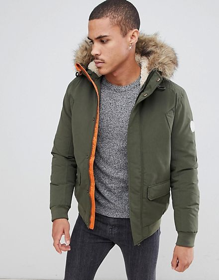 Jack Jones Originals Short Parka With Faux Fur Hood Mens Winter Coat Fur Hood Jacket Mens Jackets