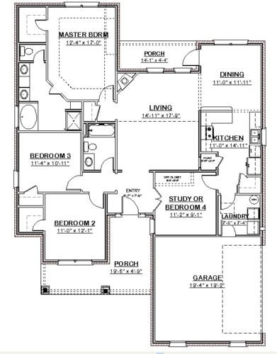 Custom House Home Building Plans Ranch 3 Bed Study 1748 Sf Pdf File Building Plans House New House Plans House Blueprints