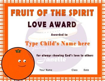 Fruit Of The Spirit Printable Awards Taken
