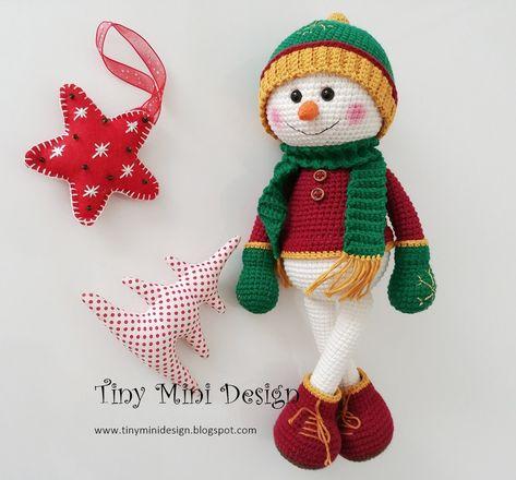 Amigurumi Zoe Doll Yeni Versiyon-Amigurumi Zoe Doll New Version - Tiny Mini Design Crochet Snowman, Crochet Christmas Ornaments, Christmas Crochet Patterns, Mini Amigurumi, Diy Christmas Crackers, Crochet Amigurumi Free Patterns, Free Crochet, Little Doll, Lalaloopsy