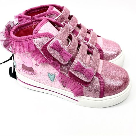 Girls Toddler Peppa Pig Light Up Pink Tennis Shoes Sneakers NWT