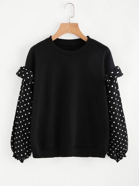 Shein Frill Trim Dotted Sleeve Sweatshirt