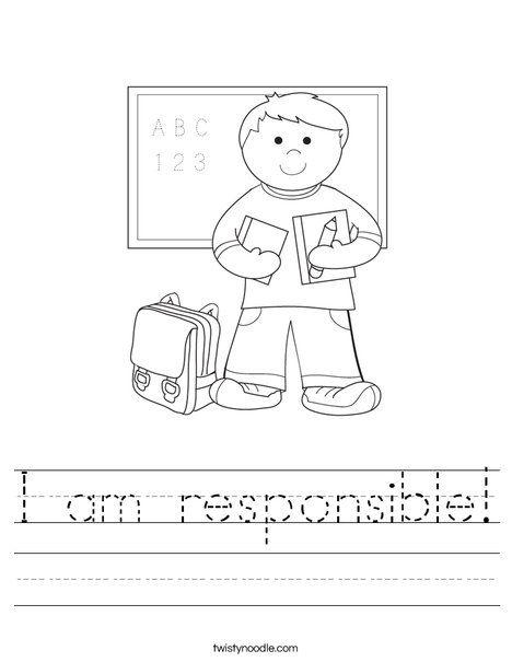 I Am Responsible Worksheet Twisty Noodle Back To School Worksheets School Worksheets First Day Of School Activities Responsibility worksheets for kindergarten