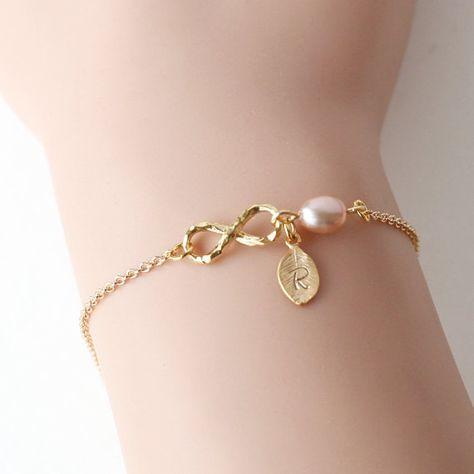 Items similar to bridesmaid bracelet, gold infinity bracelet, pearl wedding bracelet, best friends bracelet, leaf custom initial bridal bracelet jewelry on Etsy
