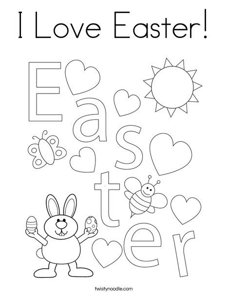 I Love Easter Coloring Page Twisty Noodle In 2020 Easter Coloring Pages Easter Colouring Coloring Pages