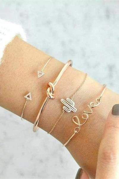 Cute Bracelet Set Knot Crystal Heart Love Cactus Bangle in Gold for Women Statem. - womenfashion:separator:Cute Bracelet Set Knot Crystal Heart Love Cactus Bangle in Gold for Women Statem.