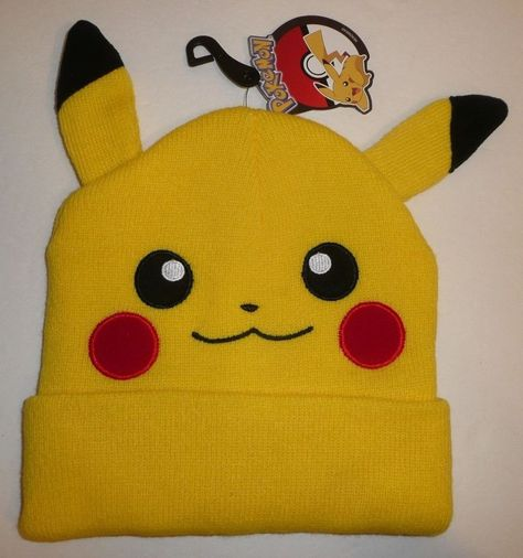 134986508ab Pikachu Face Head Cuff Beanie Hat w  Ears Pokemon Go Bioworld Yellow Pika  Cute  Bioworld  Beanie