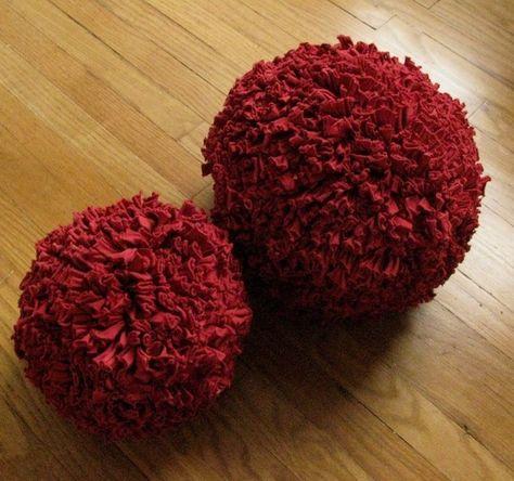 Recycled tshirt ball pillows