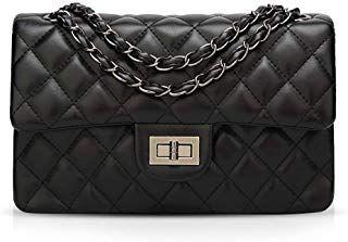 Abendtasche Ausgehtasche Leder Schultertasche Handtasche Kette silber schwarz