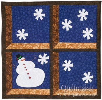 """A Peek at Mr. Snowman, 31 x 31"""", by Sue Marsh.  In:  Quilts from Quiltmaker's 100 Blocks Fall 2013"""