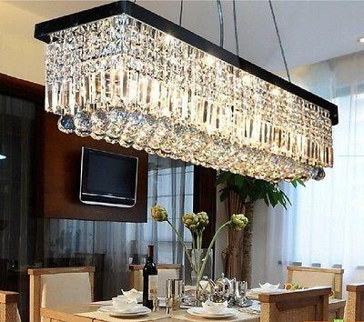 Luxury New Modern K9 Crystal Pendant Light Ceiling Lamp Chandelier Lighting Ebay In 2021 Modern Lighting Chandeliers Dining Room Chandelier Rectangular Chandelier