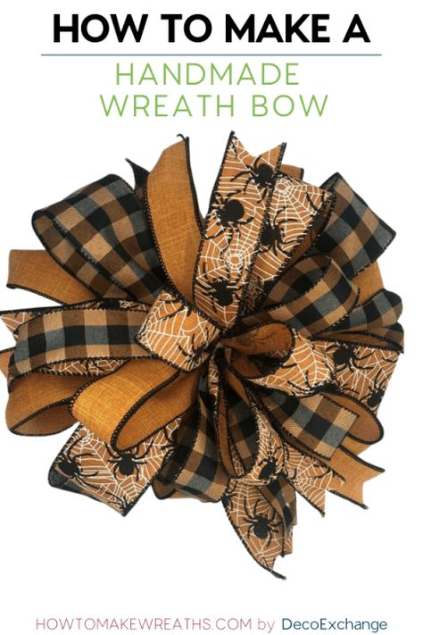 This quick tutorial will show you how to make a handmade bow for wreaths. - This quick tutorial will show you how to make a handmade bow for wreaths. Included is a step by step video on how to make a handmade wreath bow. Making Bows For Wreaths, Christmas Wreaths To Make, Christmas Bows, Wreath Making, Winter Wreaths, Making A Bow, Spring Wreaths, Summer Wreath, How To Tie A Christmas Bow