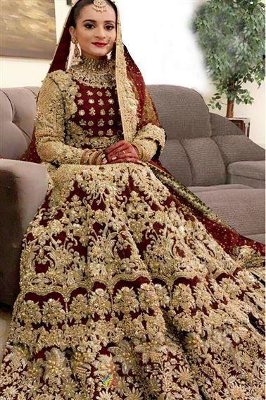 Aiman Khan Wedding Wear Pakistani Bridesmaid Bollywood Lehenga Choli For Bridal Boutique Shopping Bridal Lehenga Collection Bridal Lehenga Bridal Lehenga Choli