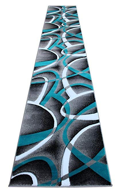 Masada Rugs Sophia Collection Hand Carved Long Runner Area Rug Modern Contemporary Turquoise Grey Black 2 Fe Modern Area Rugs Kitchenideas Modern Contemporary