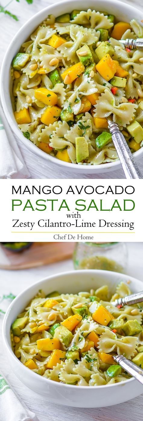 Mango Avocado Pasta Salad with zesty Cilantro-Lime Dressing and crunchy pine nuts #vegan #scrumptious