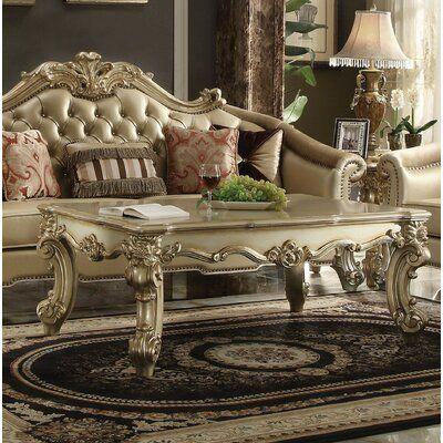 Astoria Grand Kaitlin Solid Wood Coffee Table Color Gold Patina Solid Wood Coffee Table Coffee Table Wood 3 Piece Living Room Set
