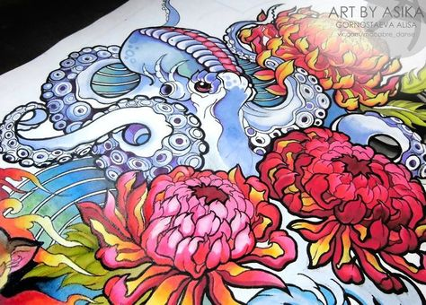 Octopus neotradition Tattoo sketch Tattoo flash. by AsikaArt,  #AsikaArt #flash #neotradition...