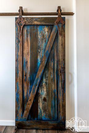 Blue Stained Sliding Door Porter Barn Wood Barn Door Designs Barn Doors Sliding Interior Barn Doors
