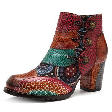 HOT Womens Vintage Satin Embroidered Pointed Toe Shoes Block Heels Chelsea Boots