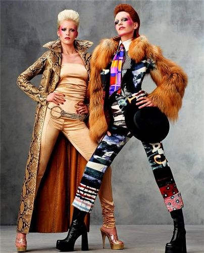Models Hannelore Knuts and Diana Mezaros channeled British musical icons David and Angela Bowie. Photographed by Steven Meisel, Vogue, November 2001