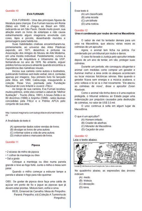 Avaliacao De Portugues 4º Ano Sala De Aula Profª Rerida