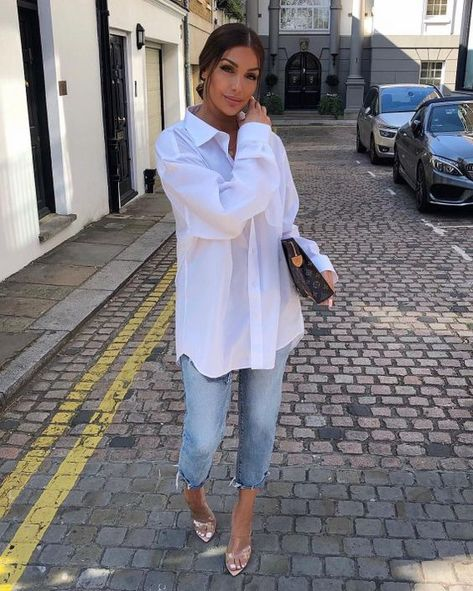 onlypuff Pocket Shirts for Women Casual Loose Fit Tunic Top Baggy Comfy Blouse White Shirt Outfits, Cute Casual Outfits, Casual Chic, Stylish Outfits, Summer Outfits, Casual Jeans Outfit Summer, Oversized Shirt Outfit, Dress Casual, Mode Outfits