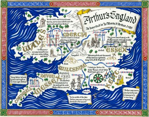 Map Of King Arthur S England Camelot Map Thomas Mallory S Le Morte D Arthur King Arthur Map Print King Arthur Legend