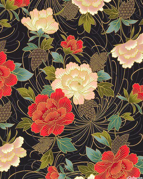Japanese Import – Hana Zukushi – Peonies – Black/Gold – Quilt Fabrics from www. Japanese Textiles, Japanese Patterns, Japanese Prints, Japanese Fabric, Art Floral, Motif Floral, Floral Patterns, Japanese Floral Design, Japanese Flowers