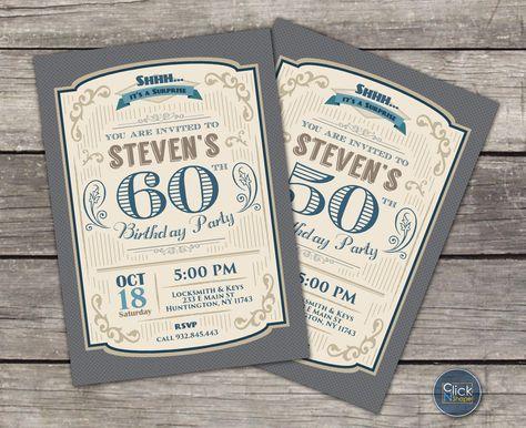 30 40 50 60 70 80 Cumpleaños Retro Invitación Para Hombres