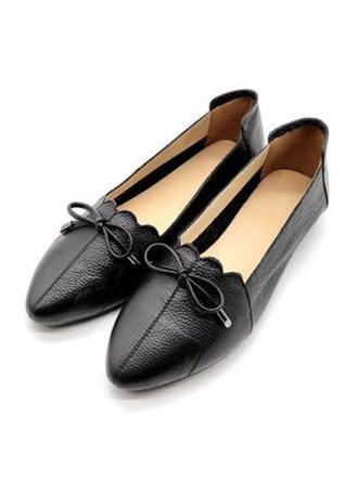 VERYVOGA Schwarz Frauen Flache Schuhe Echtleder Bowknot