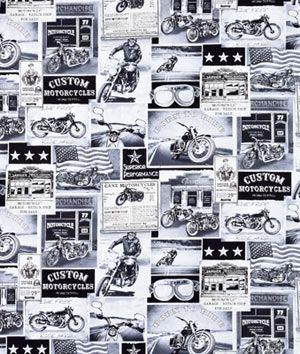 Timeless Treasures Vintage Motorcycle News Fabric Printing On Fabric Timeless Treasures Custom Motorcycles