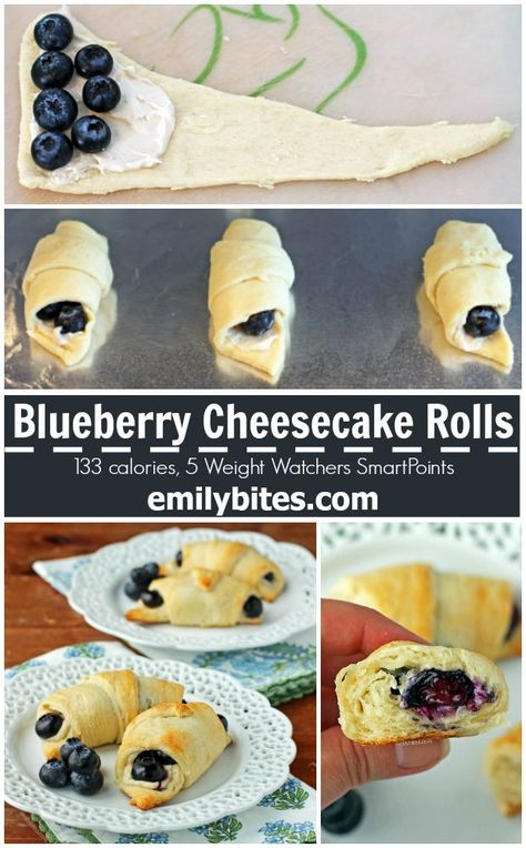 These Blueberry Cheesecake Rolls are the 5 ingredient dessert of your dreams Tasty easy and just 133 calories or 5 Weight Watchers SmartPoints each Breakfast And Brunch, Breakfast Recipes, Dessert Recipes, Quinoa Breakfast, Kid Desserts, Trifle Desserts, Homemade Desserts, Health Desserts, Breakfast Ideas