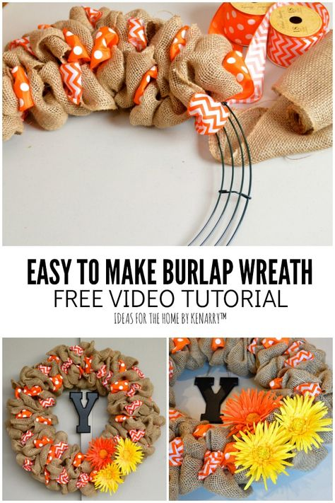 Learn how to make a DIY burlap wreath by weaving ribbons with rustic burlap in this easy step-by-step tutorial. You'll have a pretty wreath in just a few hours! You could have a custom wreath for the front door for fall, Christmas, or every holiday. Ribbon Wreath Tutorial, Easy Burlap Wreath, Burlap Crafts, Wreath Crafts, Tulle Wreath, Making Burlap Wreaths, Burlap Ribbon Wreaths, Fall Wreath Tutorial, Burlap Decorations