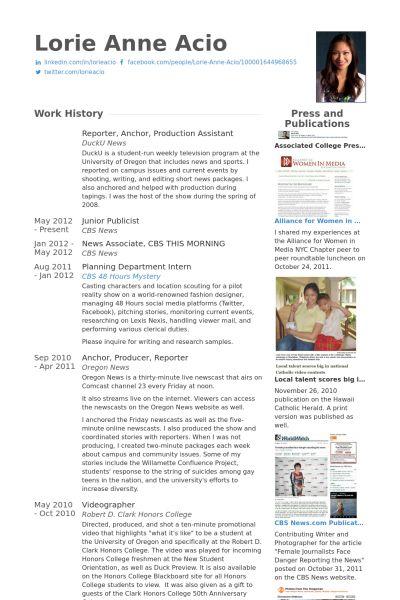 Conservador Blackbirdu0027s Pinterest - news reporter resume sample