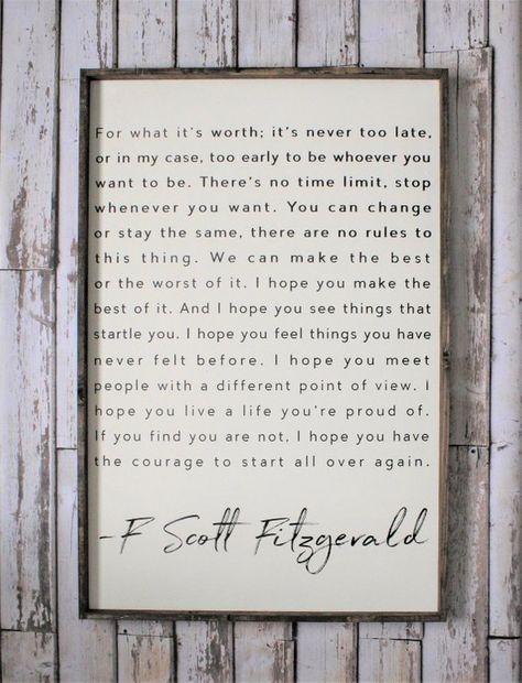F. Scott Fitzgerald Wood Sign. Inspiring Quotes. Rustic Decor.