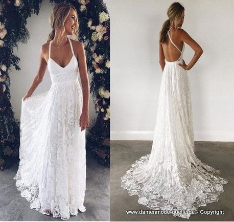 Kleider 2020 Elegantes Ruckenfreies Kleid 2020 Fur Den Standesam In Weiss Aus Spitze Damenmod In 2020 Strand Hochzeit Kleid Strandhochzeitskleid Kleider Hochzeit