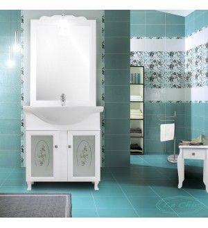 Specchio Bagno Bianco.Arredo Bagno Bianco Stile Contemporaneo Con Lavabo 65 Cm E