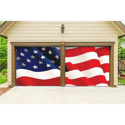 The Holiday Aisle Usa Flag 2 Piece Garage Door Mural Wayfair In 2020 Door Murals Garage Doors Garage Door Decor
