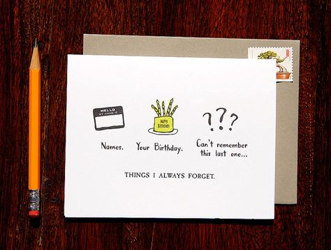 Belated Birthday: Things I always forget- Letterpress card on Etsy, $5.00