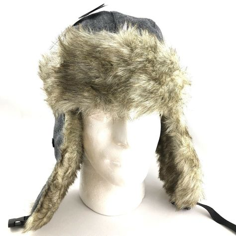 3d05f7610f5 City Hunter Men s Wool Trapper Hat Headwear with Flaps Gray Faux Fur Winter  Snow  fashion