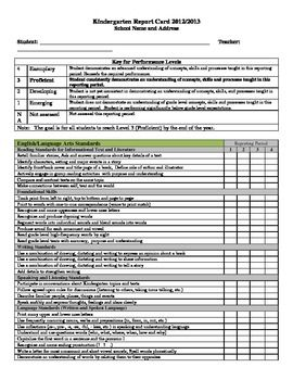 Kindergarten Common Core report Card - Fits on one 8 1/2 x 11 page!