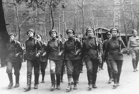 Female troops march during the Russian Revolution, 1917.