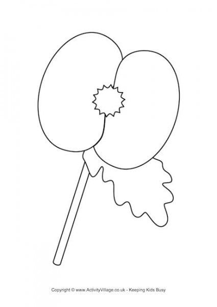 Colouring Page Template Of A Poppy A All Free Templates To Download Poppy Coloring Page Remembrance Day Poppy Poppy Craft