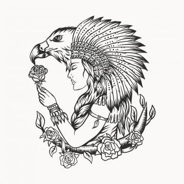 Female Native American Eagle Vector Illustration American Animal Art Png And Vector With Transparent Background For Free Download Eagle Tattoo Native American Eagle Native American Eagle Tattoo