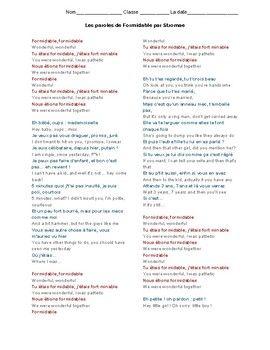 Formidable Par Stromae French English Imparfait Vs Passe Compose