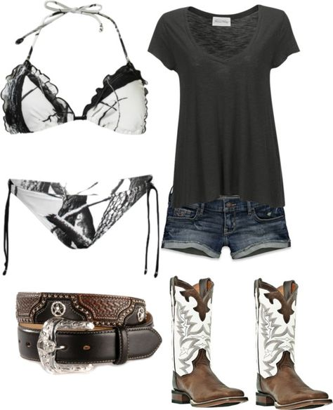 Love the bikini but dint do white. Looooovvveee this outfit Country Girl Outfits, Country Wear, Country Girl Style, Country Fashion, Country Girls, Country Casual, Big Country, Country Dresses, Southern Style