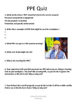 Personal And Protective Equipment Ppe Training Quiz Job Readiness For Teens Vocational Skills Educational Resources Education