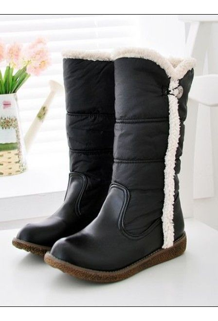 Color Matching Fur Embellished Button Winter Boots Black