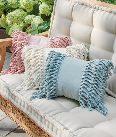 Our Fringe Lumbar Pillow features the texture, style, and dimensional wow usually reserved for indoor accents. Crafted from 100% polyester in bright color, it's ready for outdoor living, but is styled for using nearly anywhere.